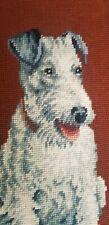 Vintage Framed Needlepoint Wire Fox Terrier Portrait