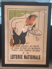 """Vintage French Poster """"Loterie Nationale"""" by R. Guerin 1990s Framed"""