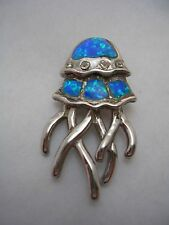 JELLYFISH PENDANT CHARM WITH OPALS AND CUBIC ZIRCONIA SET IN STERLING SILVER
