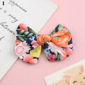 Baby Cotton Linen Bows Hair Clip Pins Kids Girls Floral Barrettes Headwear US
