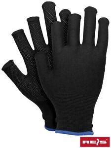 Fingerless Safety Work Gloves Anti-Slip Shell Smooth Flexible Grip Dot