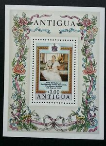 Antigua 80th Birthday Of H.M Queen 1980 Royal Flower Rose (ms) MNH
