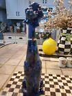 VINTAGE MCM Porcelain Tall Poodle Statue With Rhinestones.