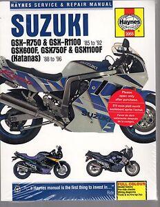 SUZUKI GSX-R750 & GSX-R1100 85-92, GSX600F, GSX750F & GSX1100F KATANAS 88.96 WSM
