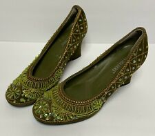 Newport News Women's Shoes 9M Green Beaded Sequins Wedge Heels Pumps