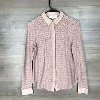 Ann Taylor LOFT Women's Size Medium Long Sleeve Lace Shirt Button Down Pink