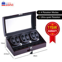 XTELARY 3 Motors Automatic Rotation 6+7 Watch Winder Storage Case Display Box US