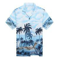 Made in Hawaii Men Hawaiian Aloha Shirt Luau Cruise Party Palms Edge Blue