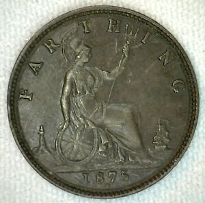 1875 H Bronze Farthing Great Britain Coin UK English XF Extra Fine
