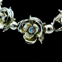 "1950's Necklace Rhinestone Flowers 15"" Statement Unsigned Gold Plated"