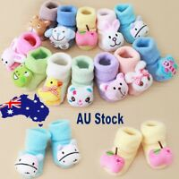 Cartoon Newborn Kids Baby Girls Boys Anti-Slip Warm Socks Slipper Shoes Boots AU