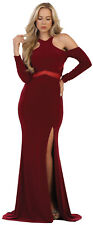 SIMPLE LONG SLEEVE EVENING GOWN RED CARPET SEMI FORMAL SPECIAL OCCASION DRESS
