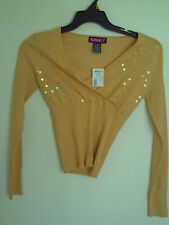 SAY WHAT? V NECK SEQUIN SWEATER 3/4 SLEEVES  NEW NWT SZ M
