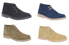 New Suede Desert Boots Lace up Fashion Ankle Smart Shoes Black Suede Leather