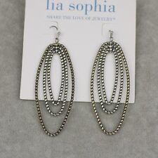 NWT Lia sophia jewelry vintage silver plated hoop drop dangle earrings layered