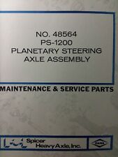 Ditch Witch Spicer Dana Ps 1200 Planetary Steering Axle Service Amp Parts Manual