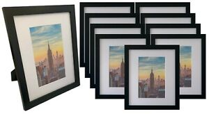 Frame Amo 10x12 Black Wood Picture Frame with White Mat for 6x9, Glass Front