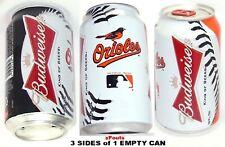 2013 BALTIMORE ORIOLE BASEBALL MLB BIRD BUDWEISER BALL BEER CAN BUD SPORT ORANGE