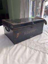 ANTIQUE VINTAGE DEED BOX - BLACK METAL STORAGE BOX WITH HANDLES - Great Patina