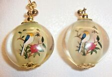 UNUSUAL CHINESE BIRD IMAGES INSIDE GLASS BEADS GOLD TONE POST DROP EARRINGS
