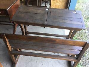 Rare Antique 1870s 80s Double bench School Desk with ink wells original Nice!