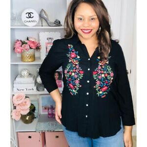 XL Extra Large  Black Colorful Floral Embroidered Blouse Top 3/4 Sleeve Women's