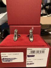 SALVATORE FERRAGAMO Tramezza Shoe Brass Gancini Vara Buckle Silver Cufflinks NIB