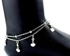 LADIES GIRLS DOUBLE LAYER ANKLET ANKLE BRACELET CHAIN ADJUSTABLE SILVER BOHO UK