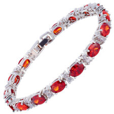 Xmas Melina Jewelry Oval Cut Garnet Ruby 18K White Gold Plated Tennis Bracelet