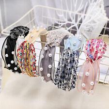 Korean Women's Pearl Knot Headband Hairband Fabric Hair Hoop Bands Hwadwear