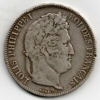 FRANCE COIN - - 1834 A PARIS MINT, 5 FRANCS SILVER, LOUIS PHILIPPE I, GRADE MBC+