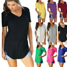 Women Solid Loose Summer V Neck Tunic T Shirt Blouse Casual Short Sleeve Tops