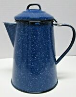 Blue Speckled Enamelware Metal Coffee Pot Cowboy Camping outdoors With lid