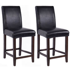 Set of 2 Kitchen Bar Stools Padded Dining Height Wood Chairs Room Furniture New