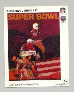 St Vincent #1428 Super Bowl IV Program Cover Art 1v S/S Imperf Chromalin Proof