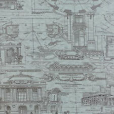 Moda 3 Sisters Passport Etchings Architecture Drawings Fabric Aqua Blue 4060-23