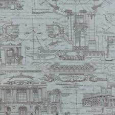 Moda 3 Sisters Passport Etchings Architecture Drawings Fabric Aqua Blue 4060-23