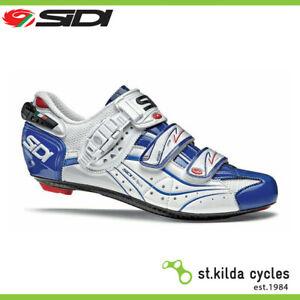 Sidi Genius 6.6 Carbon Lite Cycling Shoes White Blue Vernice - Size 42