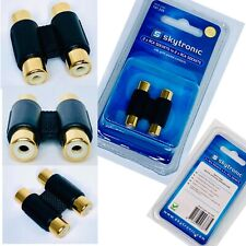 More details for 2 rca to 2 rca sockets phono 24k gold plated coupler joiner female audio adapter