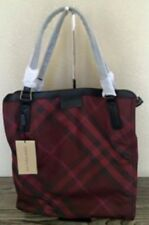 NWT BURBERRY PACKABLE NYLON BURUNGDY CHECK BUCKLEIGH PURSE TOTE BAG, Medium