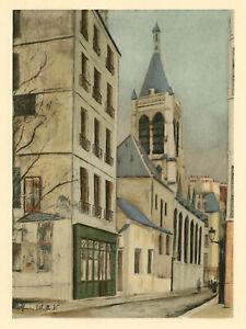 """Maurice Utrillo pochoir """"L'Eglise Sainte-Hilaire"""""""