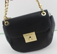 NEW AUTHENTIC MICHAEL KORS CECELIA BLACK MD MEDIUM SADDLE BAG HANDBAG WOMEN'S