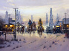 Framed canvas art print giclee Cowboys in the city when don't change western old