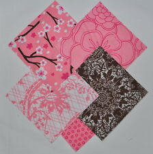 """Pink-Brown Cherry Blossoms 4"""" squares Charm Pack 100% cotton fabric, 40 pieces"""