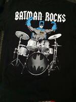 DC Comics Originals Batman Rocks Drummer T-shirt Size Medium 100% Cotton
