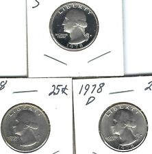 1978-S Proof Washington Quarter with BU P & D for 3 Coins Total