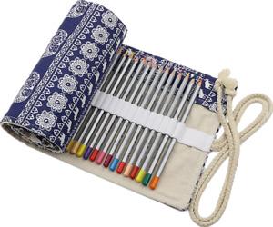 36 Holes/Slots Canvas Wrap Roll Up Pencil Bag Pencil Case Holder Storage Pouch