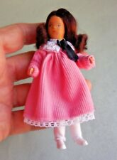 DOLLHOUSE MINIATURE ~ ERNA MEYER BROWN HAIRED GIRL IN PINK DRESS ~ VINTAGE