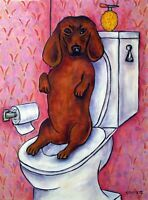 Dachshund in the bathroom dog art print gift 8x10 wall animal decor gift