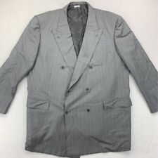 Brioni Mens Double Breasted Suit Jacket Gray Pinstriped Peak Lapel Pockets 48 R